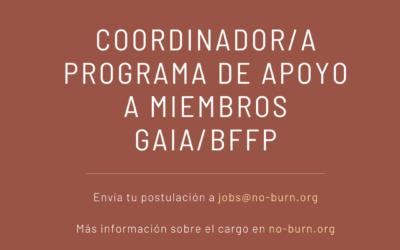 [Oferta laboral] Coordinador/a Programa de Apoyo a miembros GAIA/BFFP