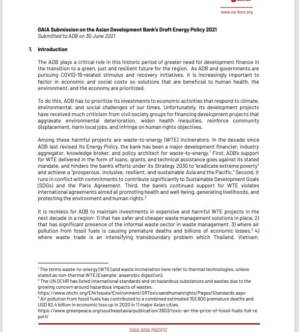 ADB draft energy policy
