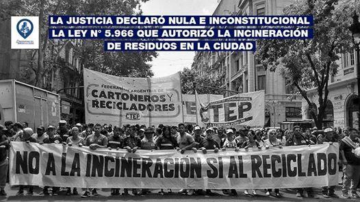 Justicia argentina declara nula e inconstitucional la ley que autorizaba la incineración de residuos